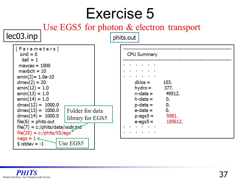 Exercise 5 Use EGS5 for photon & electron transport lec03.inp 37