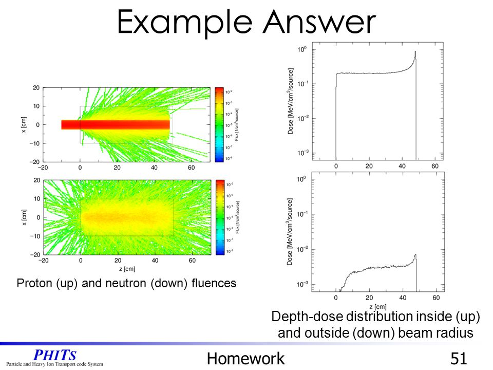 Depth-dose distribution inside (up) and outside (down) beam radius
