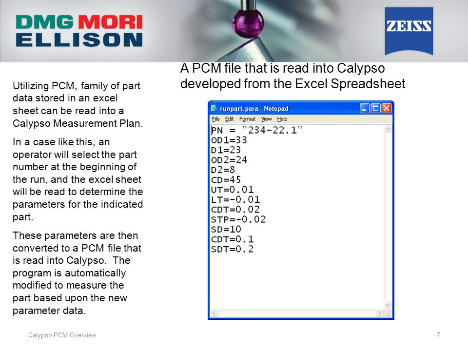 A PCM file that is read into Calypso developed from the Excel Spreadsheet