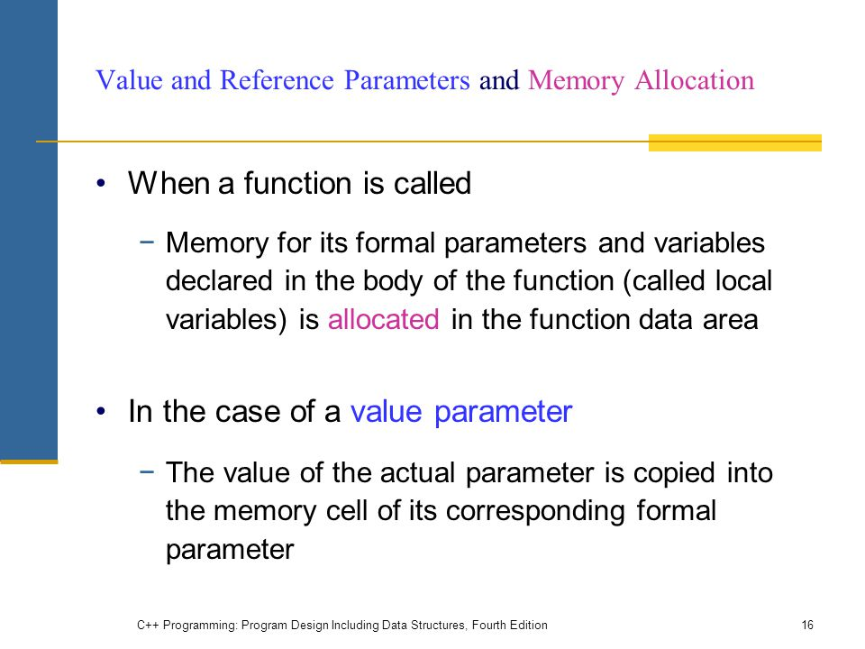 Value and Reference Parameters and Memory Allocation