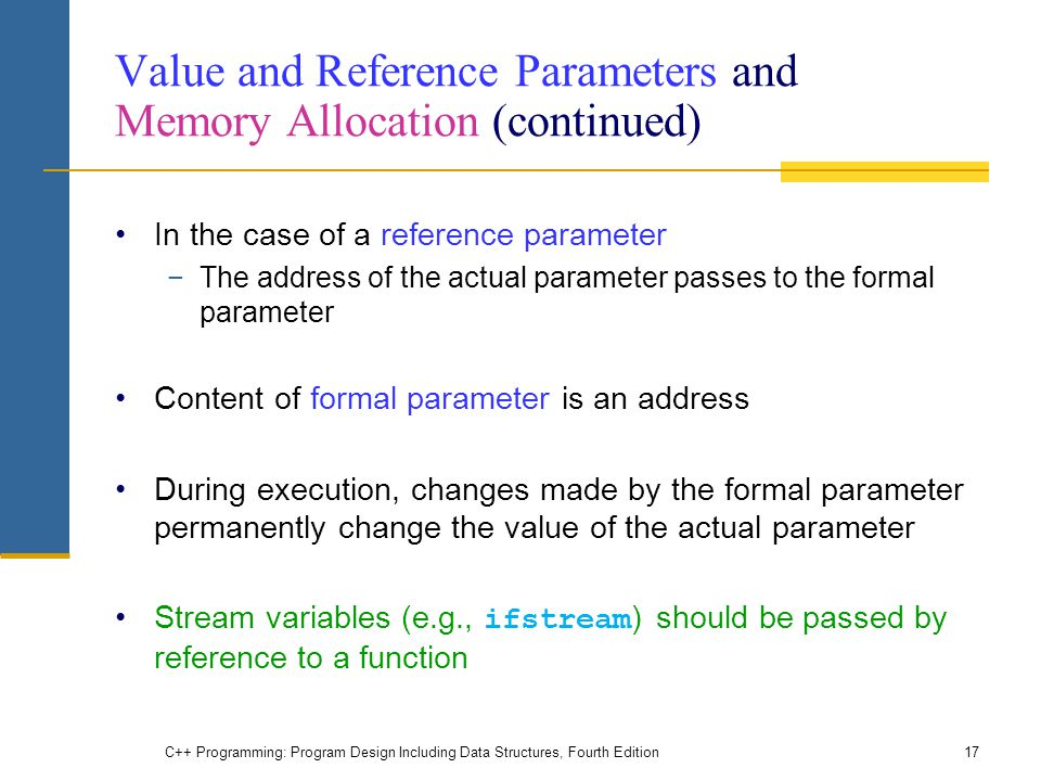 Value and Reference Parameters and Memory Allocation (continued)