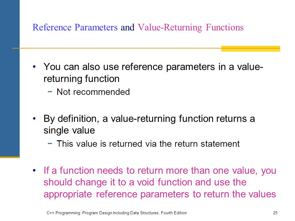 Reference Parameters and Value-Returning Functions