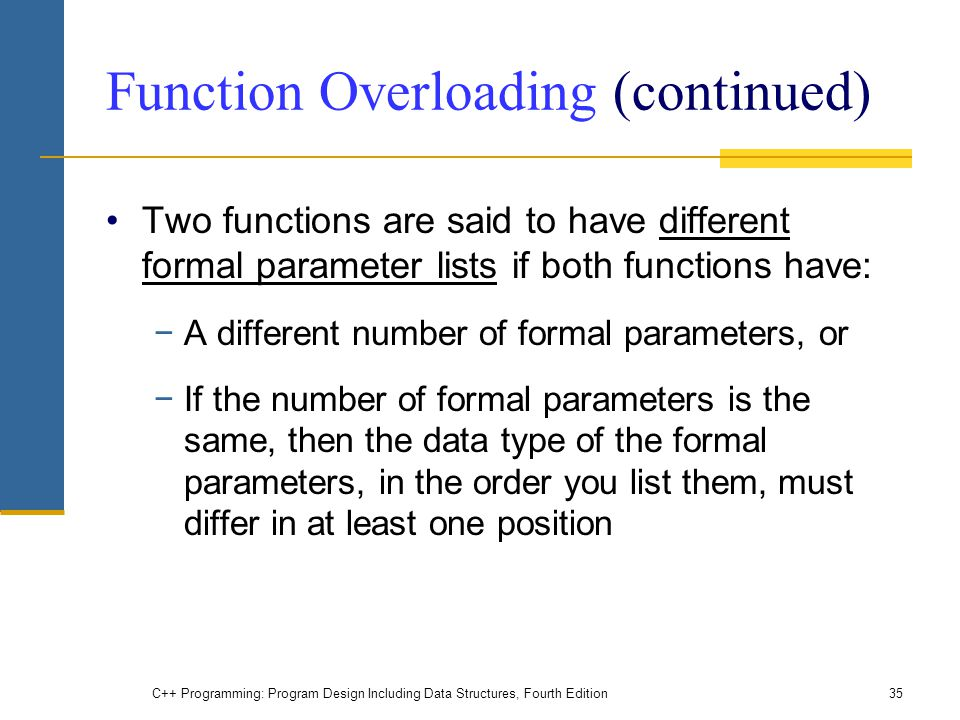 Function Overloading (continued)