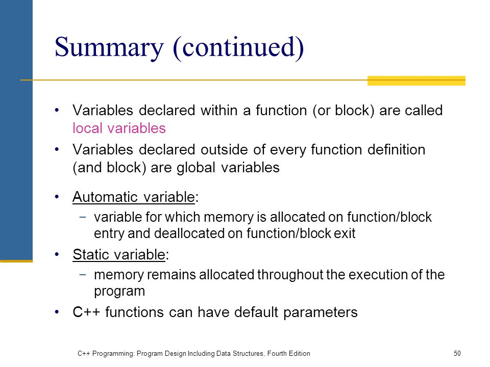 Summary (continued) Variables declared within a function (or block) are called local variables.