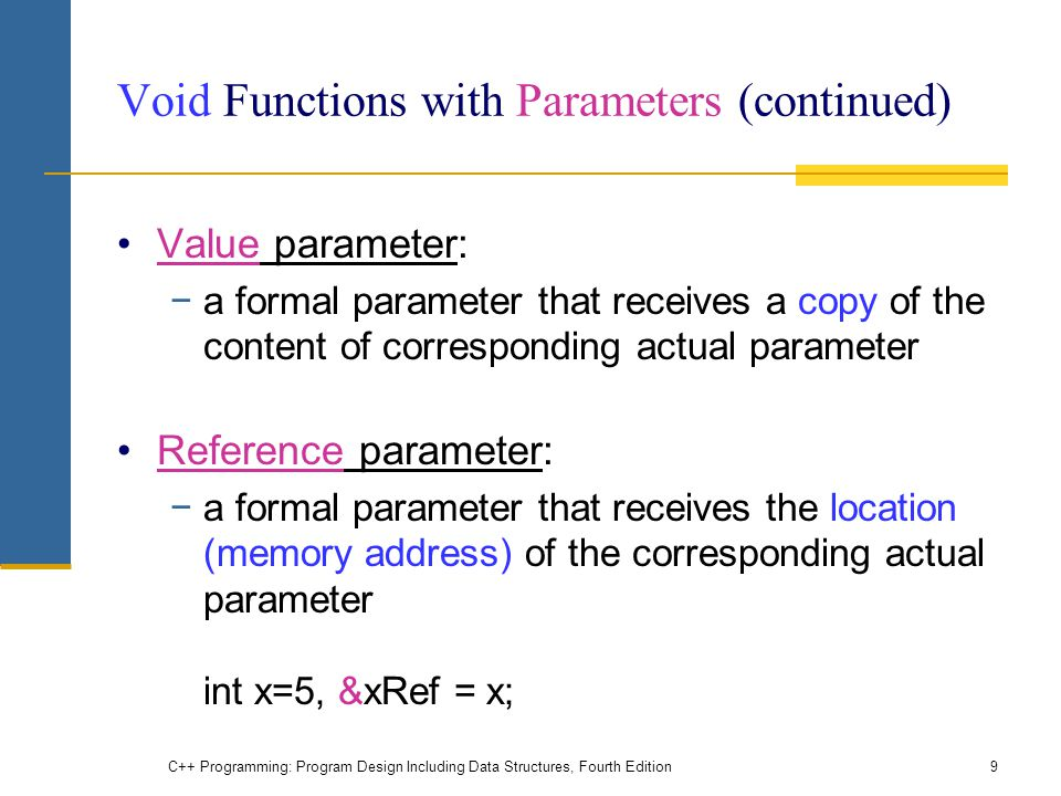 Void Functions with Parameters (continued)