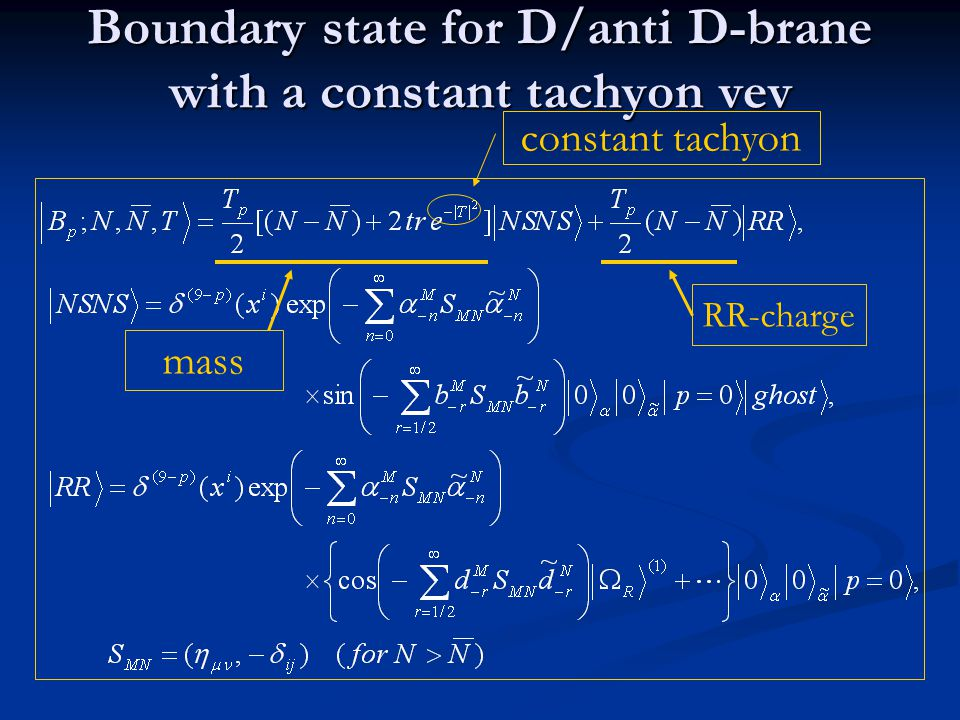 Boundary state for D/anti D-brane with a constant tachyon vev