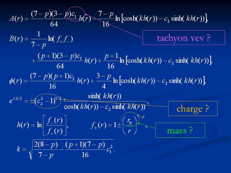 tachyon vev charge mass