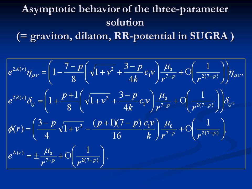 Asymptotic behavior of the three-parameter solution (= graviton, dilaton, RR-potential in SUGRA )