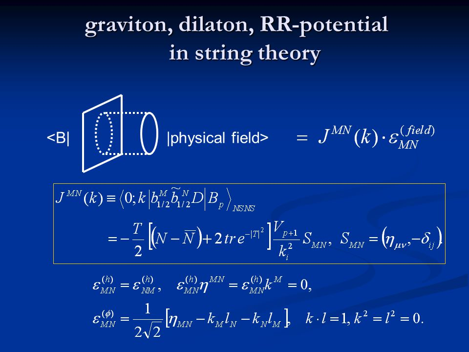 graviton, dilaton, RR-potential in string theory