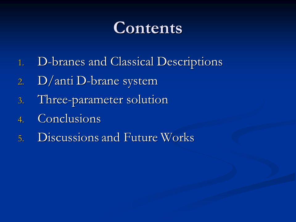 Contents D-branes and Classical Descriptions D/anti D-brane system