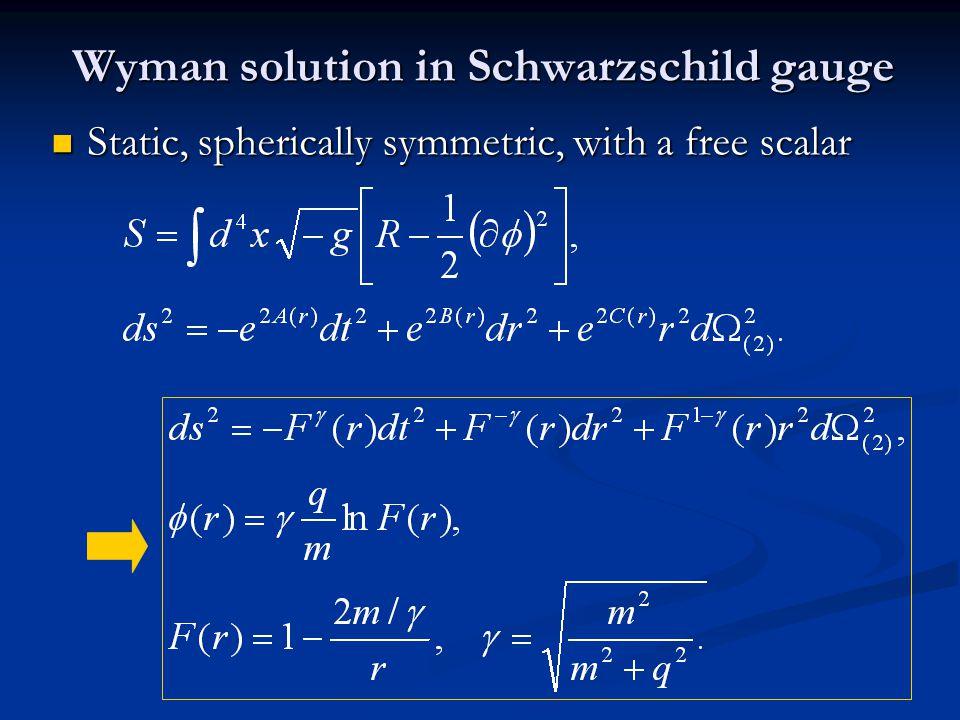 Wyman solution in Schwarzschild gauge