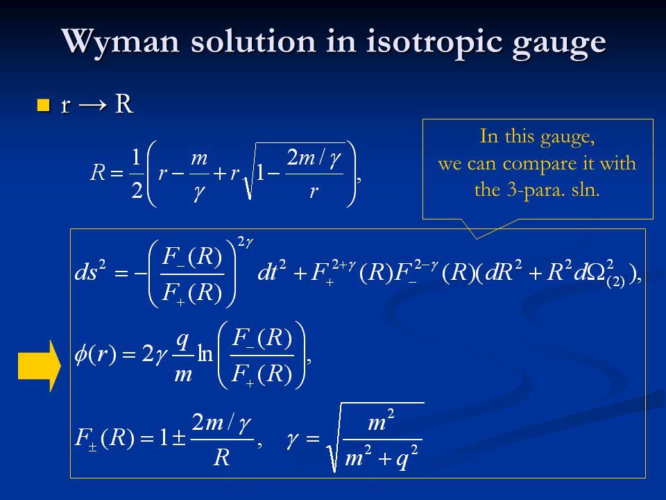 Wyman solution in isotropic gauge