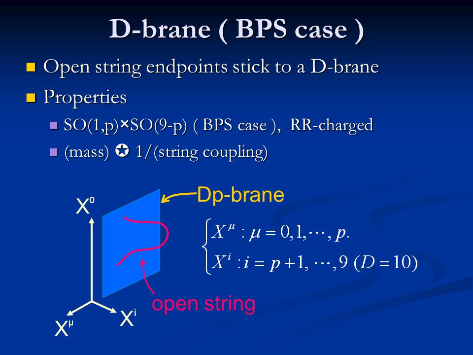 D-brane ( BPS case ) Open string endpoints stick to a D-brane
