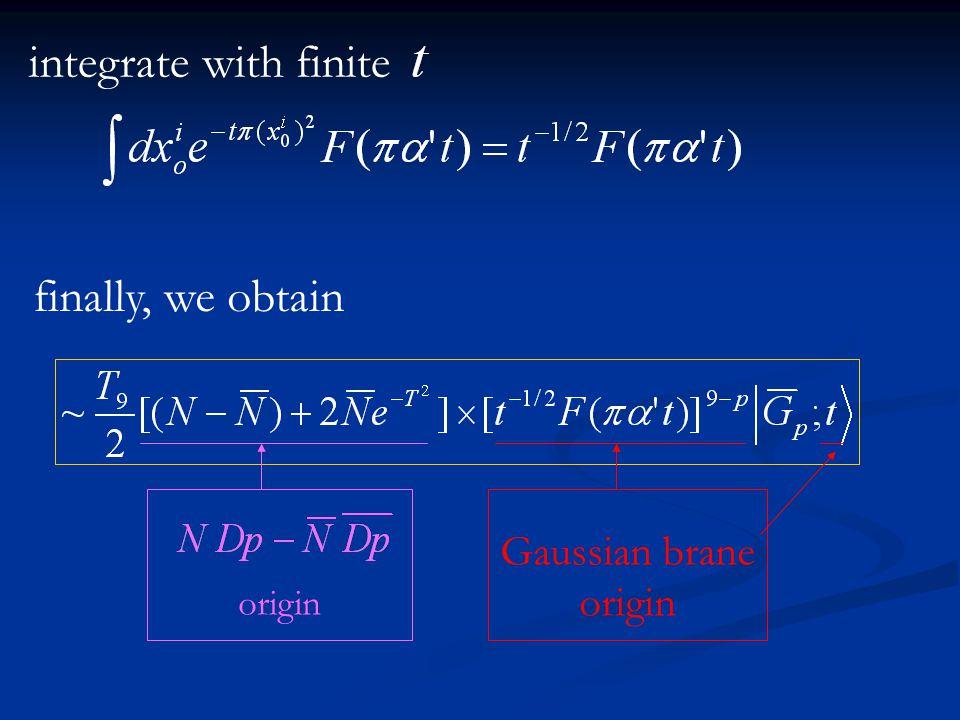 integrate with finite finally, we obtain origin Gaussian brane origin