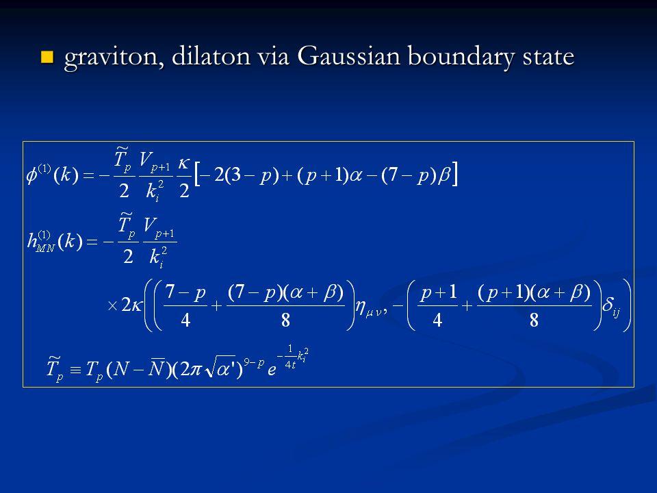 graviton, dilaton via Gaussian boundary state