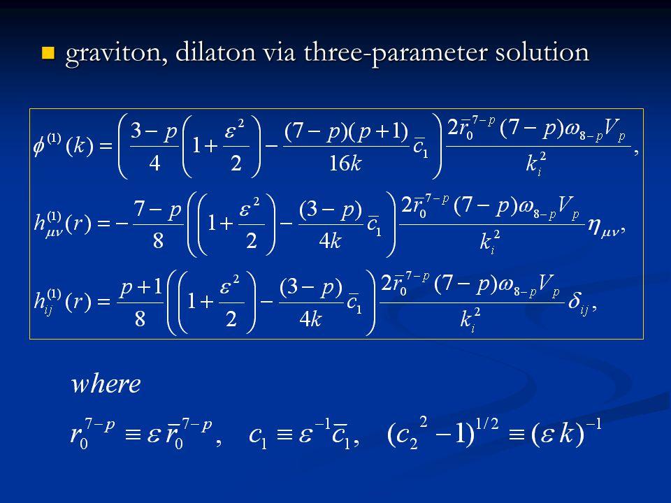 graviton, dilaton via three-parameter solution