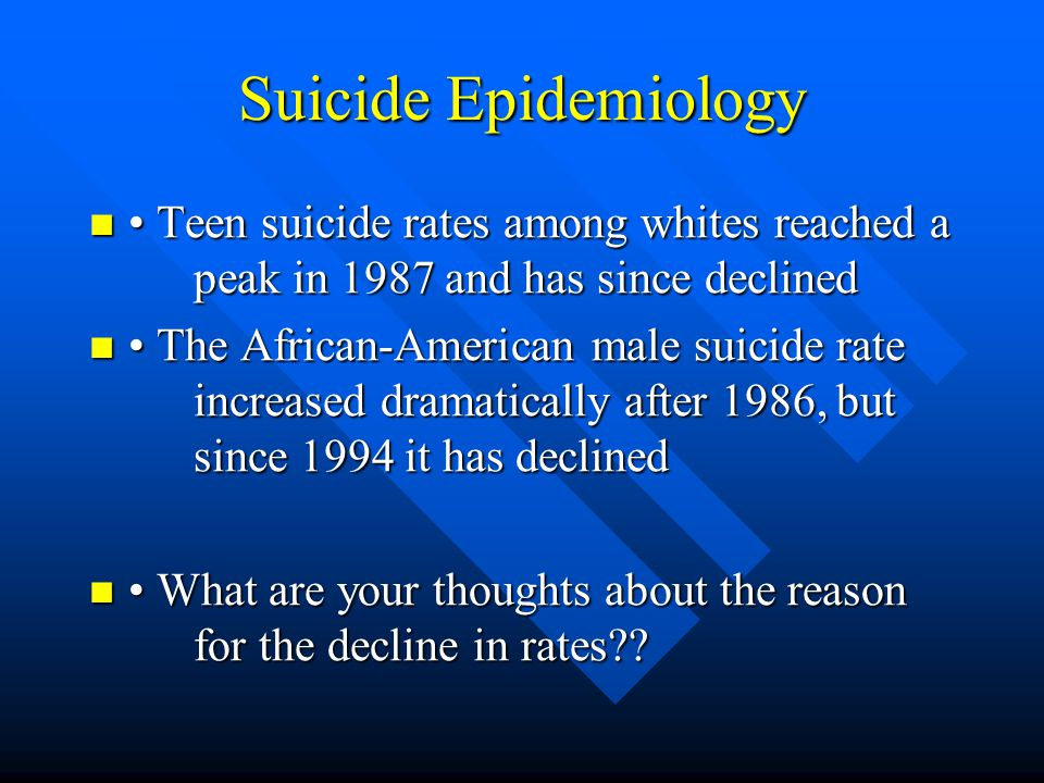 Suicide Epidemiology • Teen suicide rates among whites reached a peak in 1987 and has since declined.