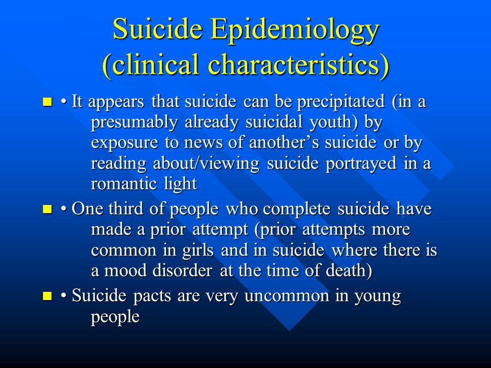 Suicide Epidemiology (clinical characteristics)