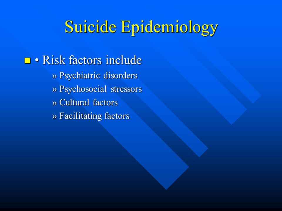 Suicide Epidemiology • Risk factors include Psychiatric disorders