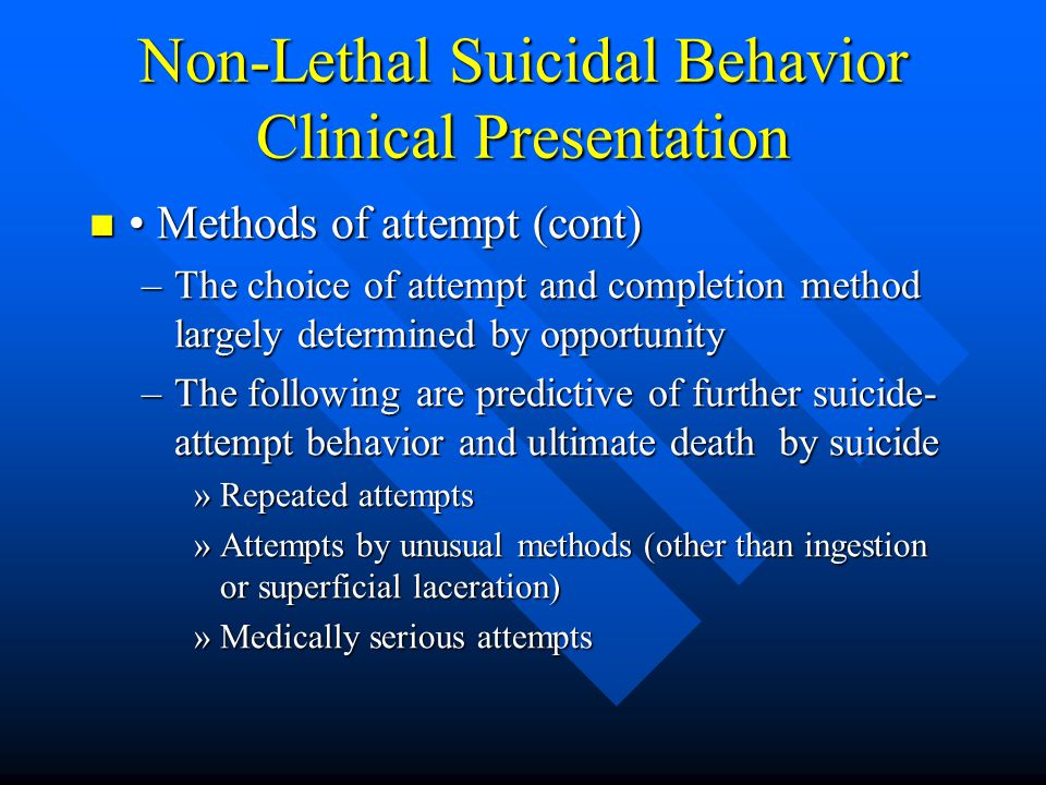 Non-Lethal Suicidal Behavior Clinical Presentation