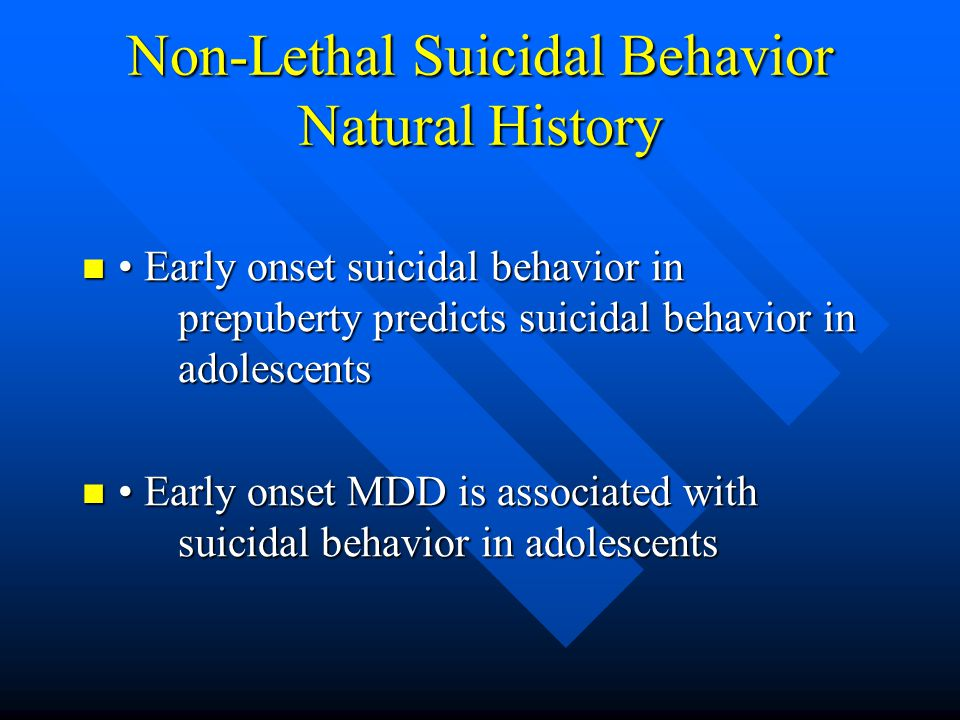 Non-Lethal Suicidal Behavior Natural History