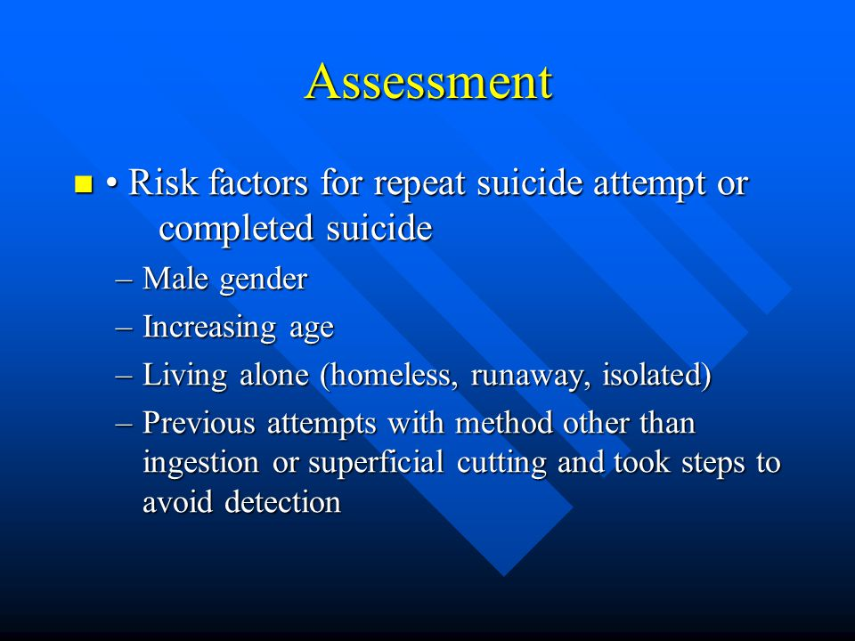 Assessment • Risk factors for repeat suicide attempt or completed suicide. Male gender. Increasing age.