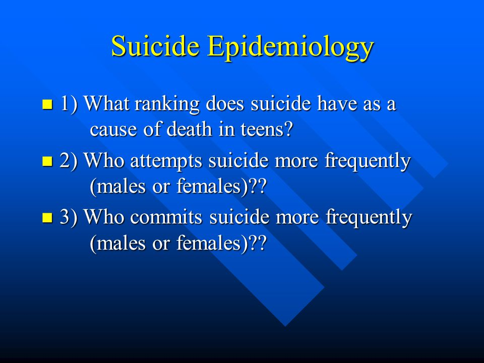Suicide Epidemiology 1) What ranking does suicide have as a cause of death in teens 2) Who attempts suicide more frequently (males or females)