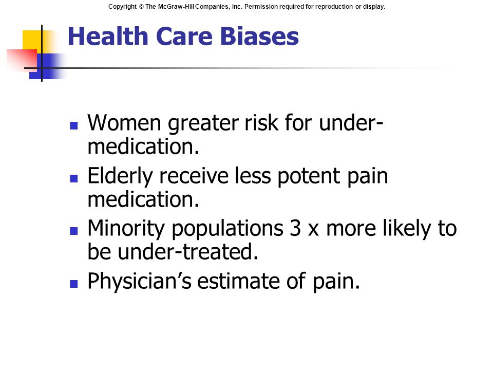 Health Care Biases Women greater risk for under-medication.