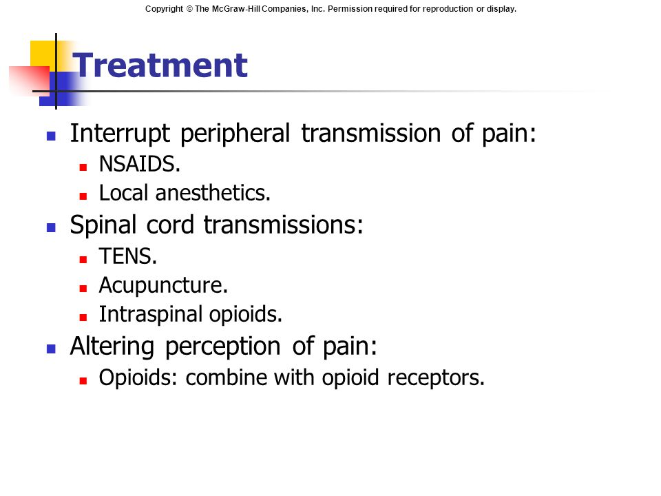 Treatment Interrupt peripheral transmission of pain:
