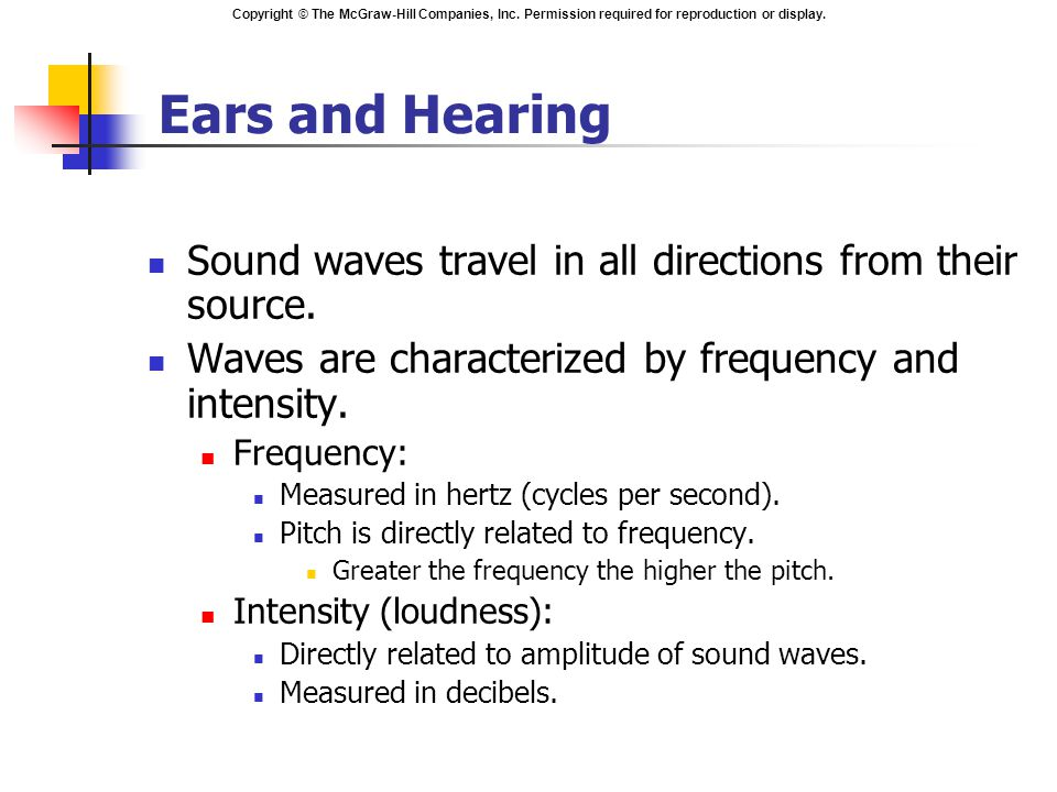 Ears and Hearing Sound waves travel in all directions from their source. Waves are characterized by frequency and intensity.