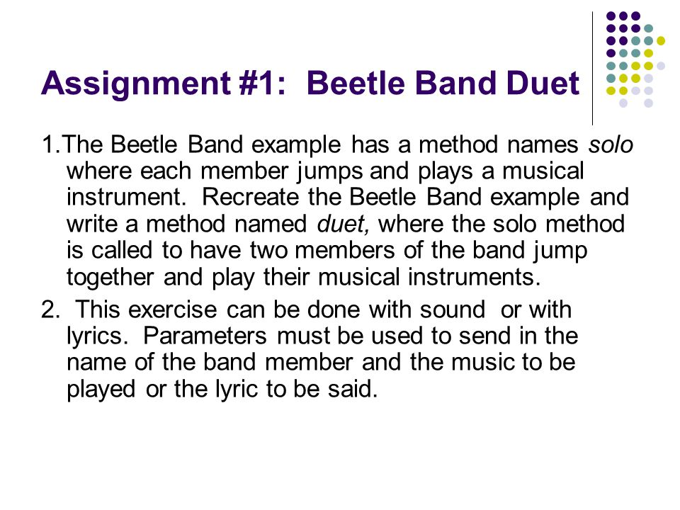 Assignment #1: Beetle Band Duet