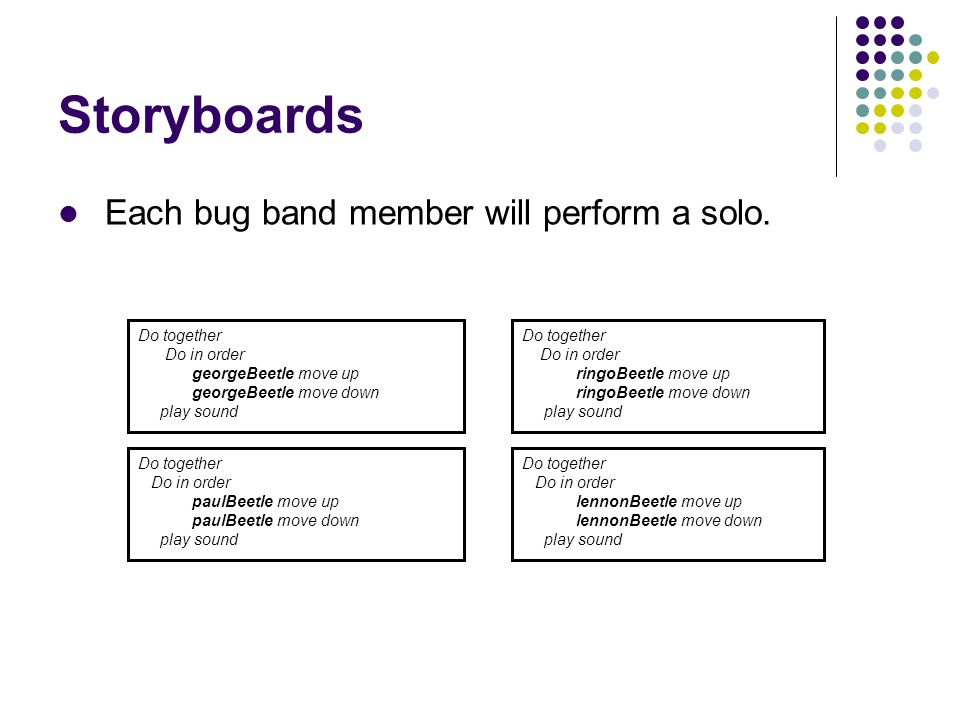 Storyboards Each bug band member will perform a solo. Do together