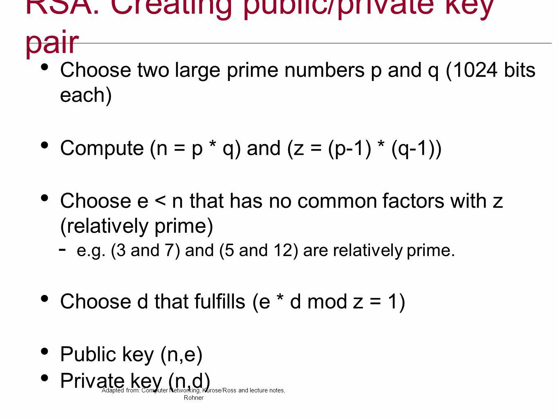 RSA: Creating public/private key pair