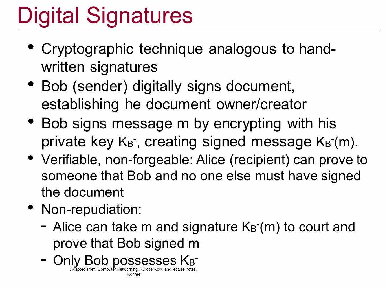 Digital Signatures Cryptographic technique analogous to hand- written signatures.