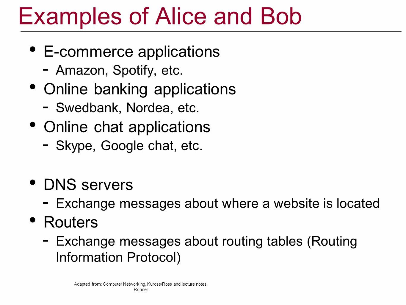 Examples of Alice and Bob