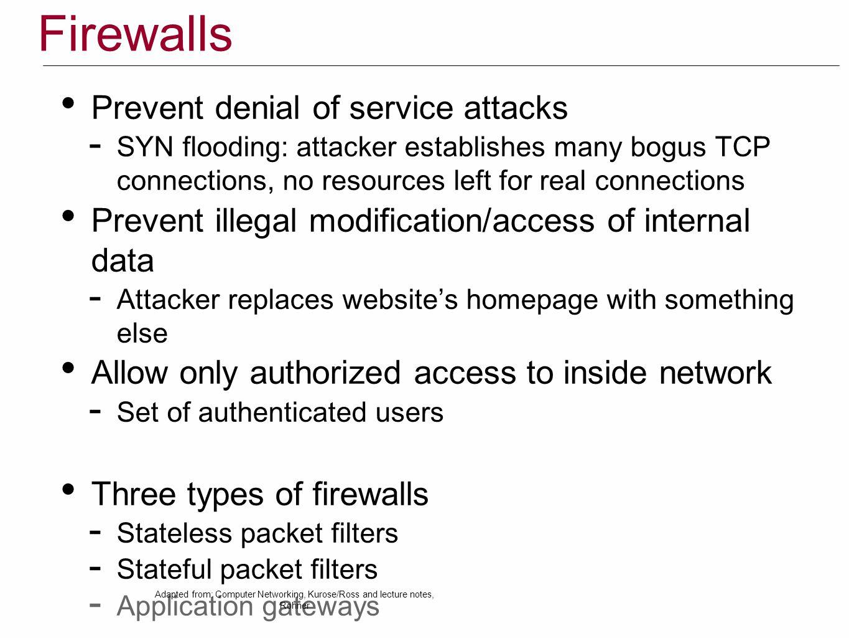 Firewalls Prevent denial of service attacks