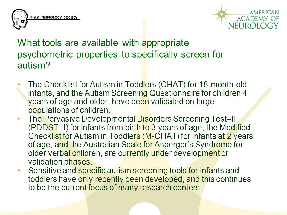 What tools are available with appropriate psychometric properties to specifically screen for autism