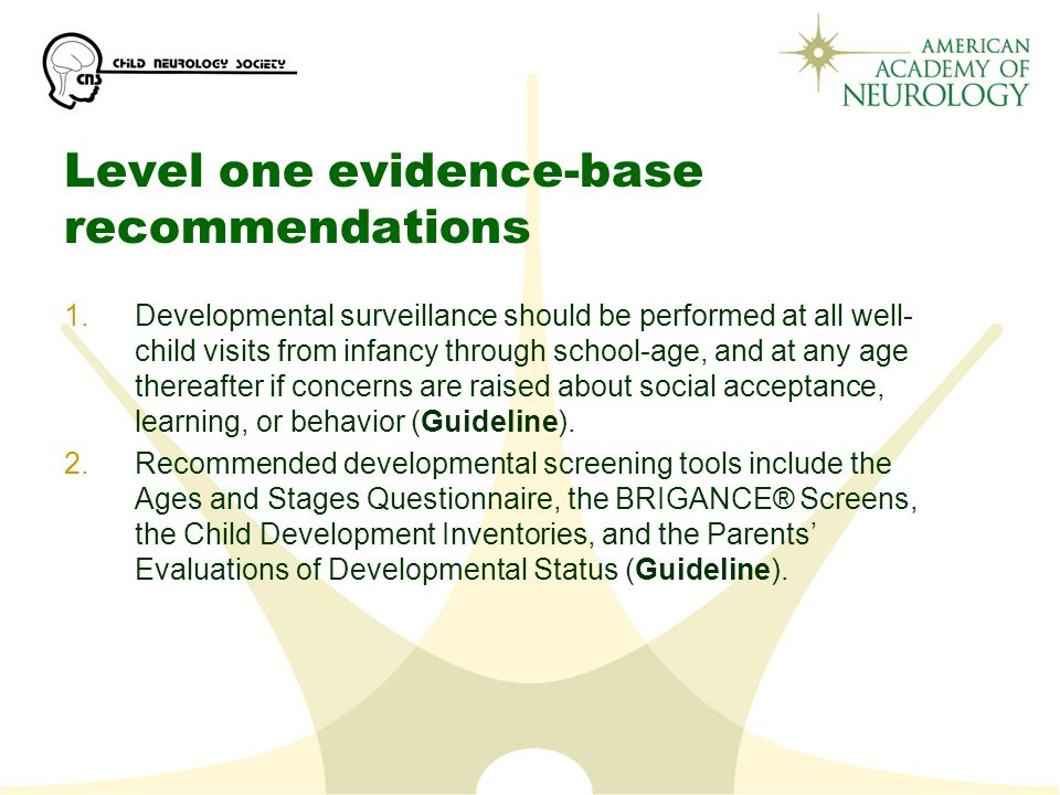 Level one evidence-base recommendations