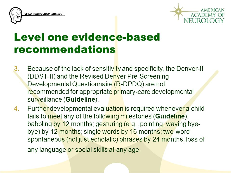 Level one evidence-based recommendations