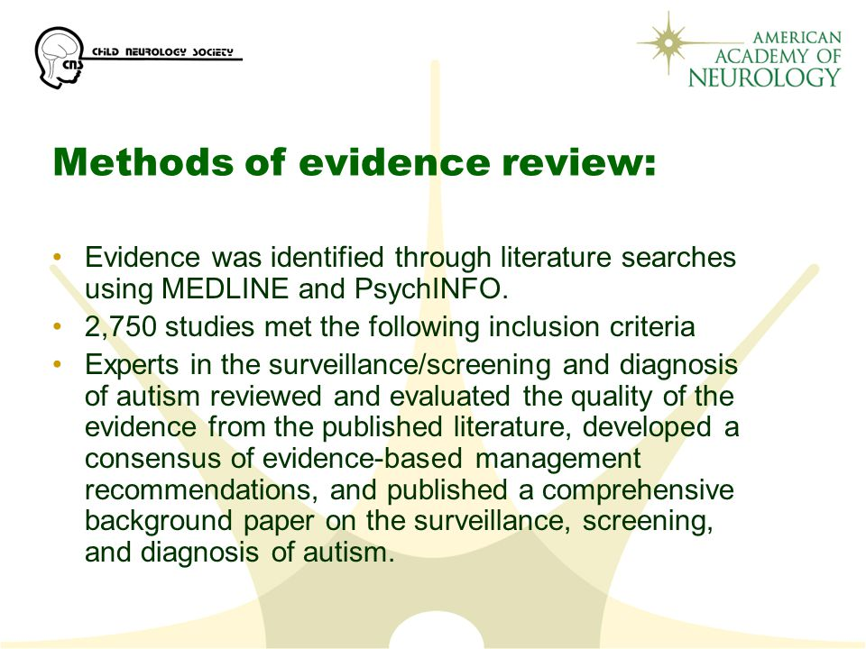 Methods of evidence review: