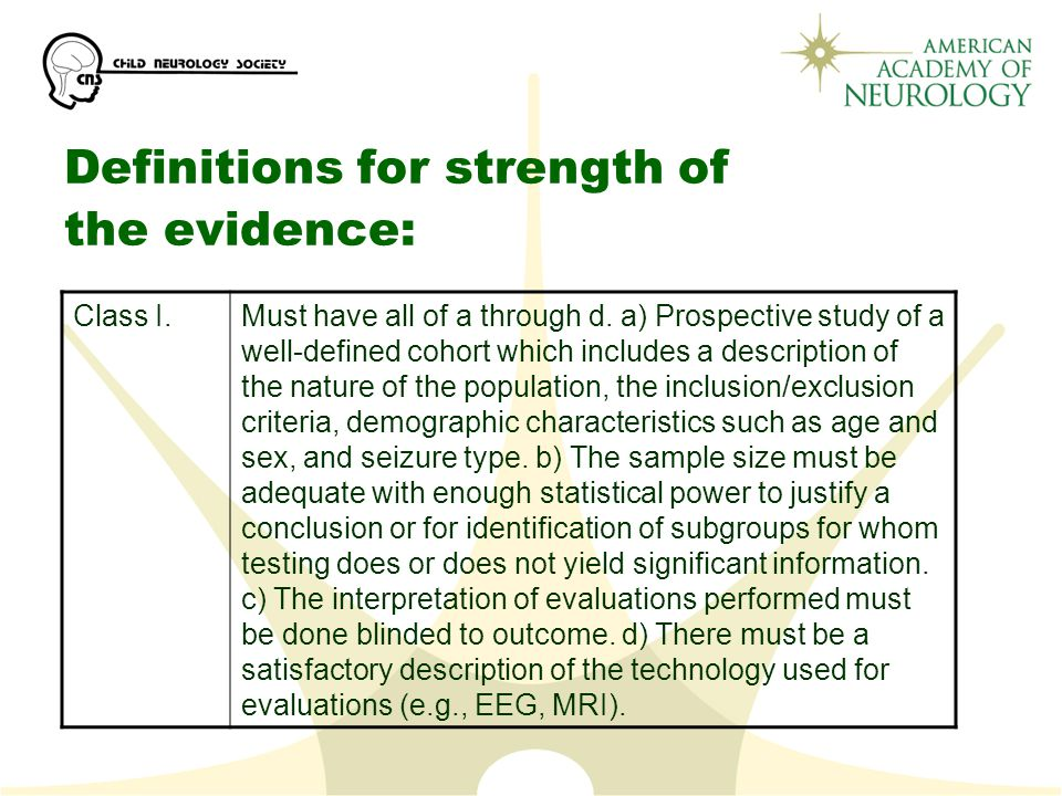Definitions for strength of the evidence: