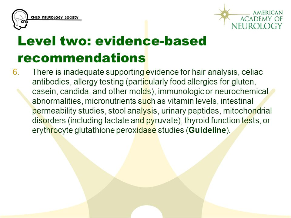 Level two: evidence-based recommendations