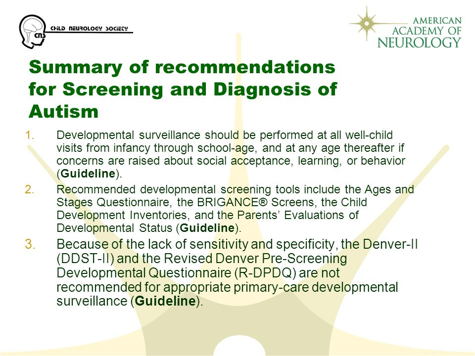 Summary of recommendations for Screening and Diagnosis of Autism