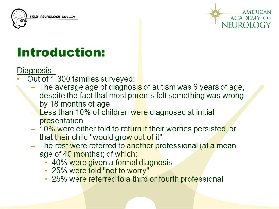Introduction: Diagnosis : Out of 1,300 families surveyed: