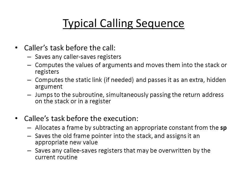 Typical Calling Sequence
