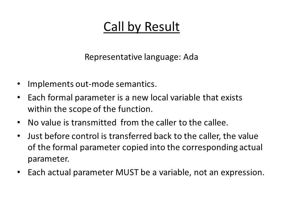 Representative language: Ada