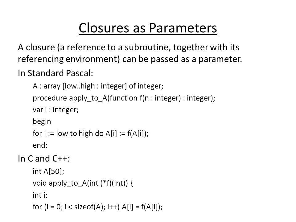 Closures as Parameters