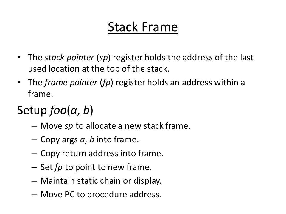 Stack Frame Setup foo(a, b)
