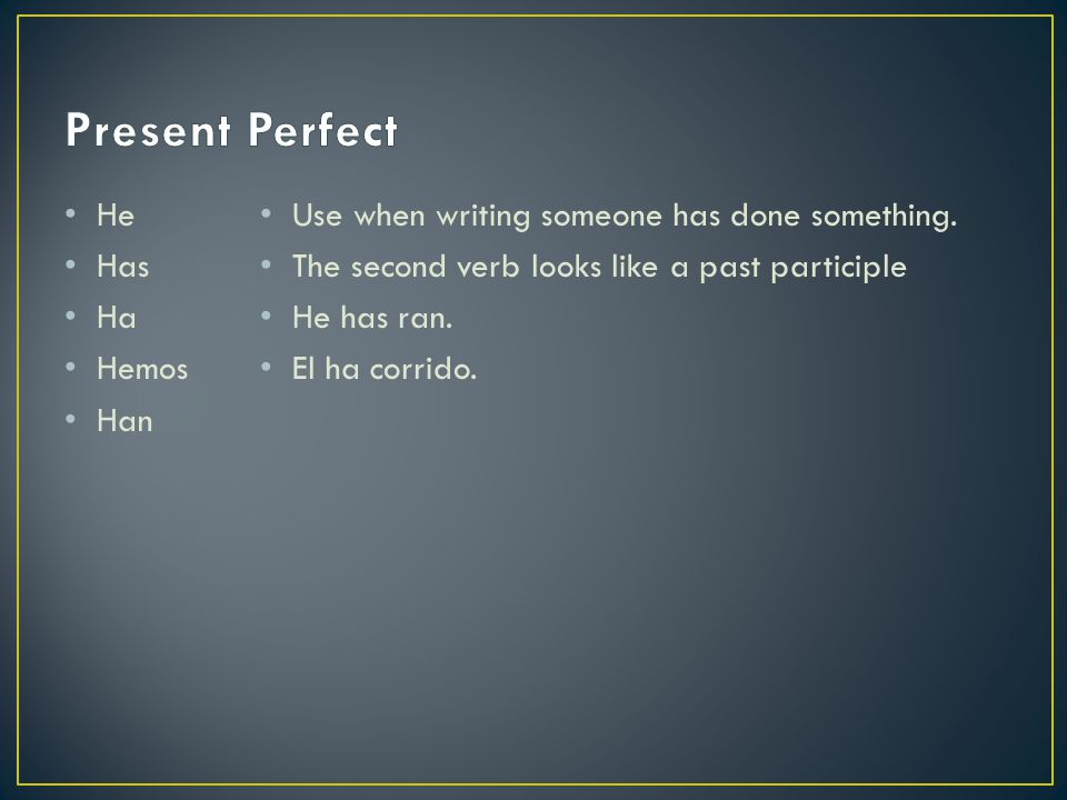 Present Perfect He Has Ha Hemos Han