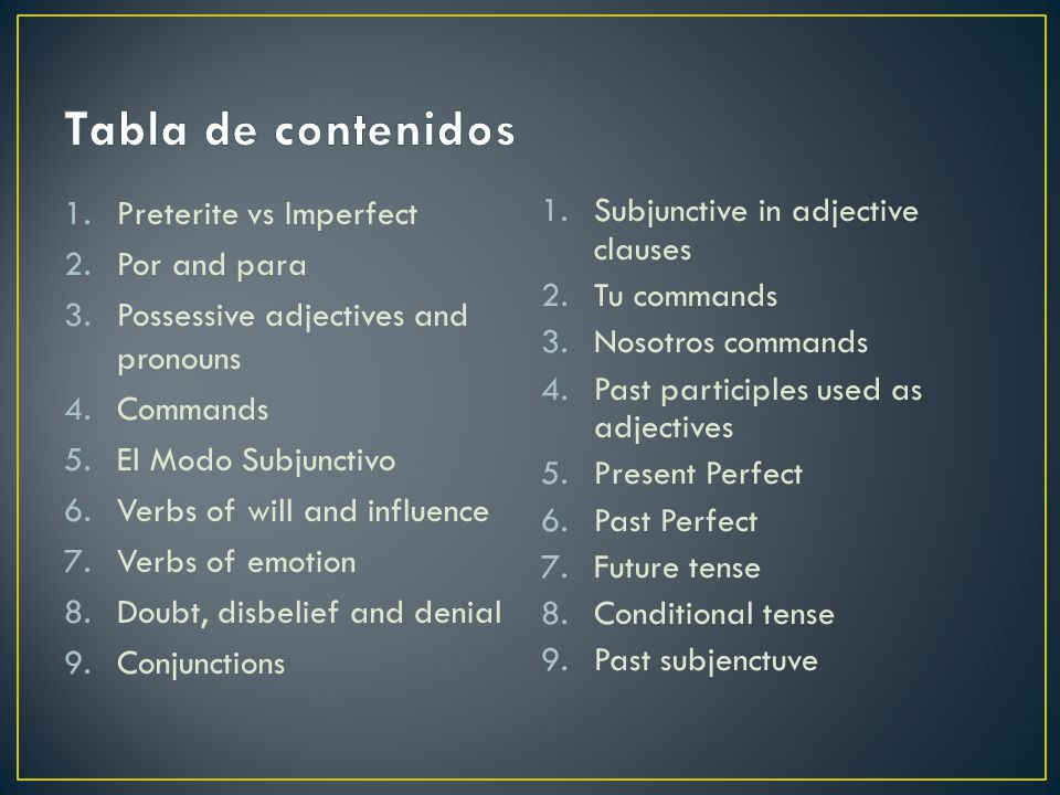 Tabla de contenidos Preterite vs Imperfect